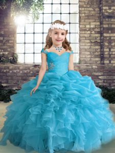 Blue Lace Up Little Girl Pageant Dress Beading and Ruffles and Pick Ups Sleeveless Floor Length
