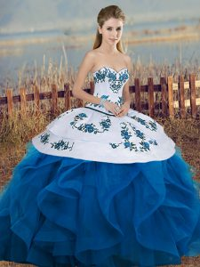 Tulle Sleeveless Floor Length Vestidos de Quinceanera and Embroidery and Ruffles and Bowknot