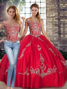 Fabulous Off The Shoulder Sleeveless Lace Up Sweet 16 Quinceanera Dress Red Tulle