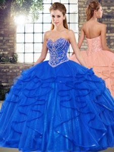Exquisite Royal Blue Tulle Lace Up Sweetheart Sleeveless Floor Length Quinceanera Dresses Beading and Ruffles