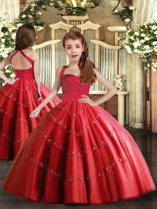 Straps Sleeveless Pageant Dress Wholesale Floor Length Beading Red Tulle