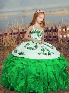 Straps Sleeveless Little Girl Pageant Gowns Floor Length Embroidery Green Organza