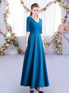 Best Selling Teal V-neck Zipper Ruching Court Dresses for Sweet 16 Half Sleeves