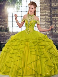 Luxury Floor Length Olive Green Sweet 16 Quinceanera Dress Tulle Sleeveless Beading and Ruffles
