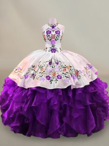 Ball Gowns Quinceanera Dress White And Purple High-neck Organza Sleeveless Floor Length Lace Up