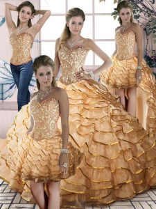 Dazzling Organza Sweetheart Sleeveless Brush Train Lace Up Beading and Ruffled Layers 15th Birthday Dress in Gold
