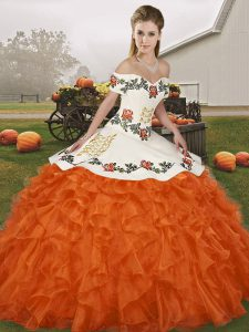 Elegant Off The Shoulder Sleeveless 15th Birthday Dress Floor Length Embroidery and Ruffles Orange Red Organza