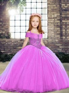 Straps Sleeveless Lace Up Pageant Dress for Teens Lilac