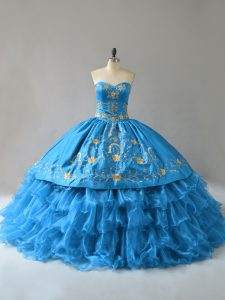 Great Organza Sweetheart Sleeveless Lace Up Embroidery and Ruffles Quince Ball Gowns in Blue
