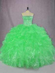 Green Organza Lace Up Strapless Sleeveless Floor Length Quince Ball Gowns Beading and Ruffles