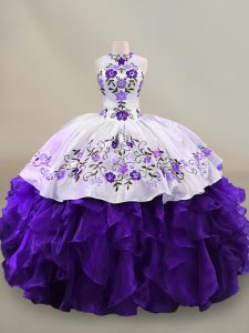 White And Purple Halter Top Neckline Embroidery and Ruffles Sweet 16 Quinceanera Dress Long Sleeves Lace Up