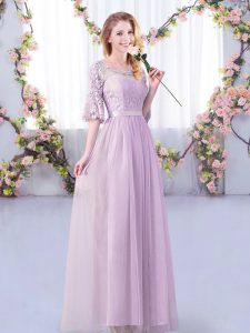 Lavender Empire Scoop Half Sleeves Tulle Floor Length Side Zipper Lace and Belt Quinceanera Dama Dress