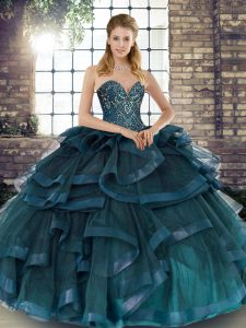 Low Price Beading and Ruffles Party Dress for Toddlers Teal Lace Up Sleeveless Floor Length