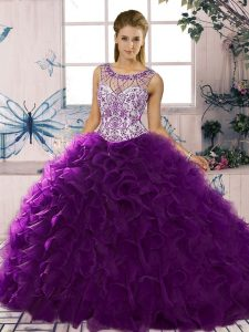 Simple Ball Gowns Sweet 16 Dresses Purple Scoop Organza Sleeveless Floor Length Lace Up