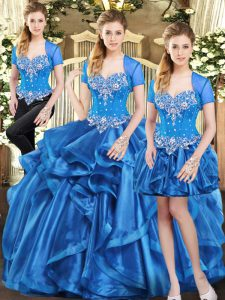 Smart Floor Length Three Pieces Sleeveless Blue Quinceanera Dresses Lace Up