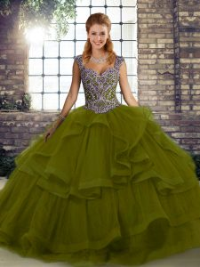 Sweet Floor Length Olive Green 15 Quinceanera Dress Tulle Sleeveless Beading and Ruffles