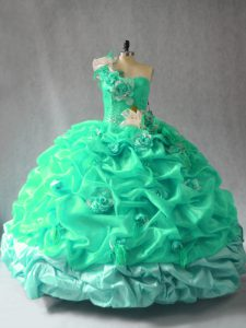 Simple Turquoise Ball Gowns Pick Ups and Hand Made Flower Vestidos de Quinceanera Lace Up Organza Sleeveless Floor Length