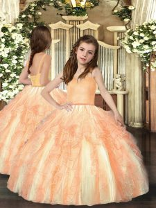 Inexpensive Orange Tulle Lace Up Straps Sleeveless Floor Length Kids Pageant Dress Ruffles