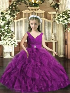 Sleeveless Backless Floor Length Beading and Ruffles Winning Pageant Gowns
