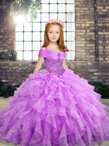 On Sale Lavender Sleeveless Organza Lace Up Pageant Gowns For Girls for Party and Wedding Party