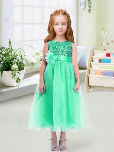 Clearance Turquoise Empire Scoop Sleeveless Organza Tea Length Zipper Sequins and Hand Made Flower Flower Girl Dresses
