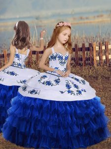 Super Royal Blue Ball Gowns Straps Sleeveless Organza Floor Length Lace Up Embroidery and Ruffled Layers Kids Pageant Dress
