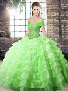 Vintage Sleeveless Organza Brush Train Lace Up Quinceanera Dress for Military Ball and Sweet 16 and Quinceanera