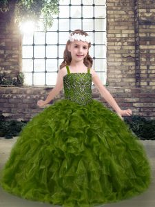 Discount Olive Green Sleeveless Organza Lace Up Kids Formal Wear for Party and Military Ball and Wedding Party