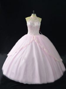 Sleeveless Beading and Appliques Quince Ball Gowns with Pink