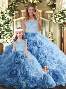 Sweet Floor Length Ball Gowns Sleeveless Baby Blue Quinceanera Gowns Zipper