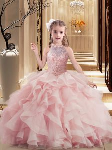 Sleeveless Beading and Ruffles Lace Up Little Girls Pageant Gowns