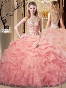 Romantic Beading and Ruffles Quinceanera Dresses Peach Zipper Sleeveless Floor Length