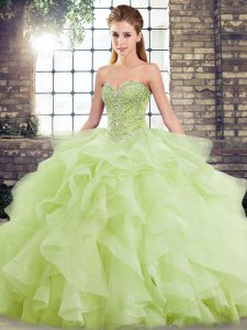 Cute Yellow Green Sweet 16 Quinceanera Dress Military Ball and Sweet 16 and Quinceanera with Beading and Ruffles Sweetheart Sleeveless Brush Train Lace Up