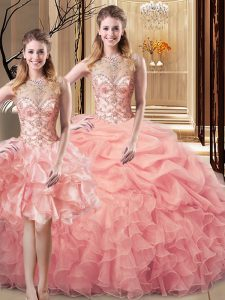 Low Price Scoop Sleeveless Organza and Tulle Sweet 16 Dress Beading and Ruffles Lace Up