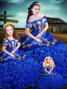 Most Popular Royal Blue Ball Gowns Embroidery and Ruffles Quinceanera Dress Lace Up Organza Sleeveless Floor Length