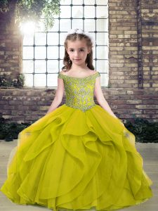 New Arrival Floor Length Ball Gowns Sleeveless Olive Green Pageant Gowns For Girls Lace Up