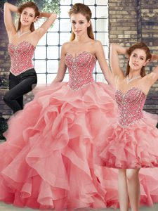 Hot Selling Three Pieces Sleeveless Watermelon Red Sweet 16 Quinceanera Dress Brush Train Lace Up