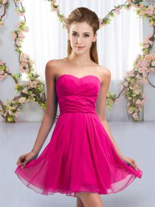 Lovely Fuchsia Chiffon Lace Up Quinceanera Court of Honor Dress Sleeveless Mini Length Ruching