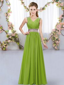 Artistic Olive Green Sleeveless Chiffon Lace Up Dama Dress for Wedding Party