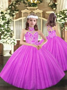 Customized Halter Top Sleeveless Lace Up Child Pageant Dress Lilac Tulle