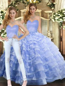 Elegant Lavender Lace Up Sweetheart Ruffled Layers Quinceanera Gowns Organza Sleeveless