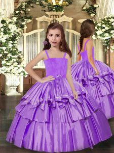 Lavender Straps Lace Up Ruffled Layers Child Pageant Dress Sleeveless