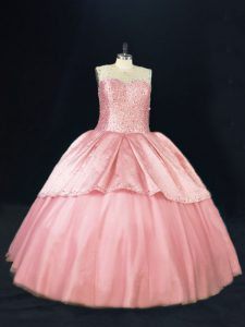Sleeveless Tulle Floor Length Lace Up 15th Birthday Dress in Pink with Beading