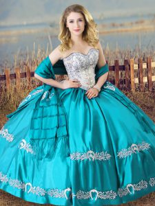 Aqua Blue Sleeveless Beading and Embroidery Floor Length Vestidos de Quinceanera