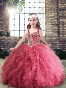 Tulle Straps Sleeveless Lace Up Beading and Ruffles Little Girls Pageant Dress Wholesale in Pink