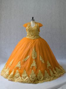 Super Lace Up Sweet 16 Dress Gold for Sweet 16 and Quinceanera with Appliques Court Train