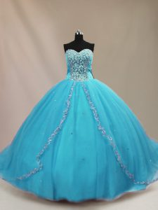 Aqua Blue Ball Gown Prom Dress Sweetheart Sleeveless Court Train Lace Up