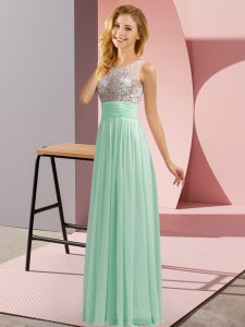 Apple Green Side Zipper Quinceanera Dama Dress Beading Sleeveless Floor Length