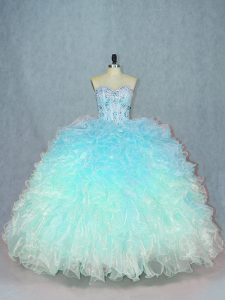 Fashionable Multi-color Organza Lace Up Quinceanera Dress Sleeveless Beading and Ruffles