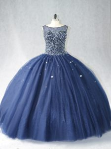 Best Selling Navy Blue Sleeveless Beading Zipper Quince Ball Gowns